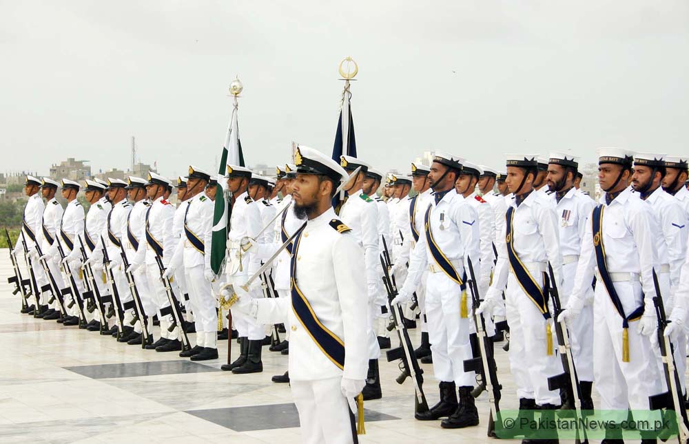 "KARACHI, PAKISTAN, AUG 14: Naval cadets parade at the mausoleum of the country's founder Mohammad Ali Jinnah during ceremony to celebrate the ""63rd Independence Day"" held in Karachi on Saturday, August 14, 2010. (Rizwan Ali/PPI Photo)."